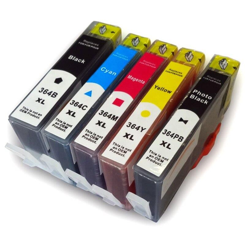5 stücke für hp 364 tintenpatrone voller tinte für hp deskjet 3070A...