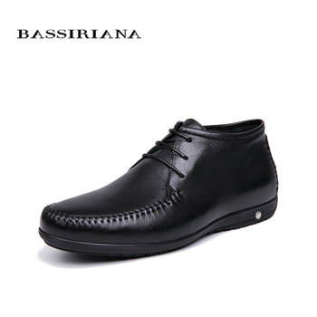BASSIRIANA 2018 Winter Men's Shoes Natural Leather Comfortable Warm Size 39-45 Free Shipping