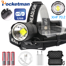 120000LM USB Rechargeable LED headlamp xhp70.2 powerful Headlight XHP70 Zoom high power fishing torch Camping