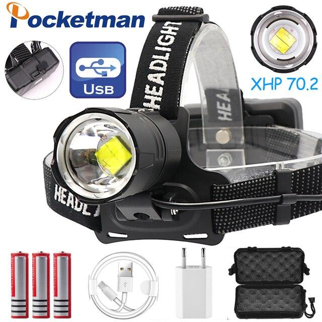 7000LM USB Rechargeable LED headlamp xhp70.2 powerful Headlight XHP70 Zoom high power fishing headlamp torch Headlight Camping