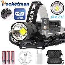 7000LM USB Sạc Đèn LED XHP70.2 Mạnh Đèn Pha XHP70 Zoom Cao Cấp Câu Cá Đèn Pha Đèn Pin Đội Đầu Cắm Trại
