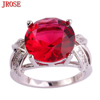JROSE Wholesale Charming Jewelry Created Pink Tourmaline & White CZ Silver Color Ring Size 6 7 8 9 10 11 12 13 Wedding Fashion