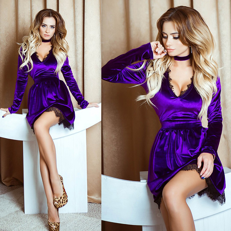 2019 Women Summer Dress Hot Style Sexy Lace Velvet V neck Necktie Dress Bodycon Fashion Women Mini Dress Casual New Arrival in Dresses from Women 39 s Clothing