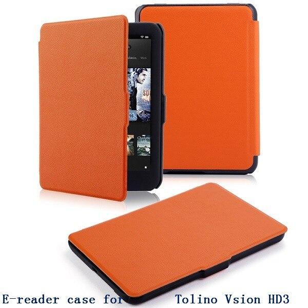 Ultra slim e-reader case for 2015 tolino vision hd3 thin pu leather E-book case smart smart protective case free shipp + pen
