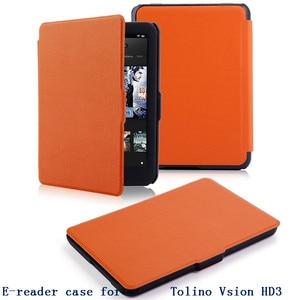 Ultra slim e-reader case for 2015 tolino vision hd3 thin pu leather E-book case smart smart protective case free shipp + pen(China)