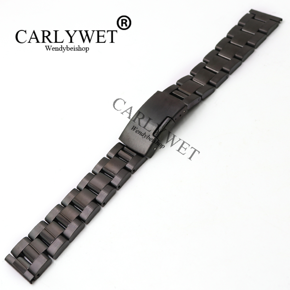 CARLYWET 14 16 18 19 20 21 22 23mm Wrist Watch Band Bracelet Strap Belt With Single Push Clasp For Rolex Omega Tudor Breitling in Watchbands from Watches