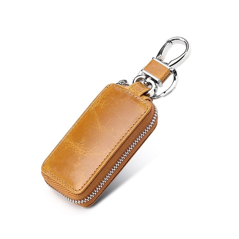 Genuine Leather Car Key Wallet Men Key Holder Housekeeper Keys Organizer Women Keychain Covers Zipper Key Case Bag Purse