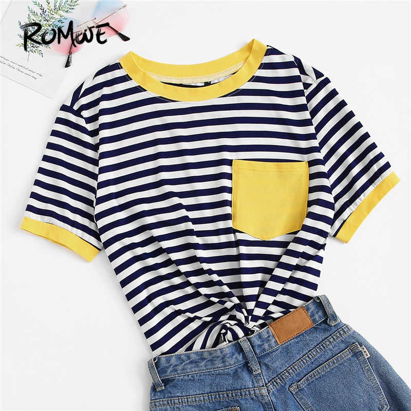 ROMWE Multicolor Contrast Pocket Striped Ringer Women Tees 2019 Summer Preppy Style T Shirts Casual Short Sleeve O-Neck Tops