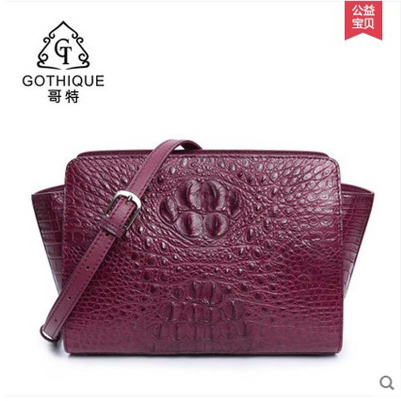 gete new Alligator skin women bag single shoulder crocodile skin women bag European style crocodile bag female wing bag