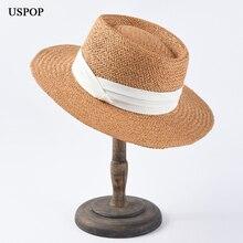 USPOP 2019 New sun hats women fashion straw jazz top ribbon beach hat female summer