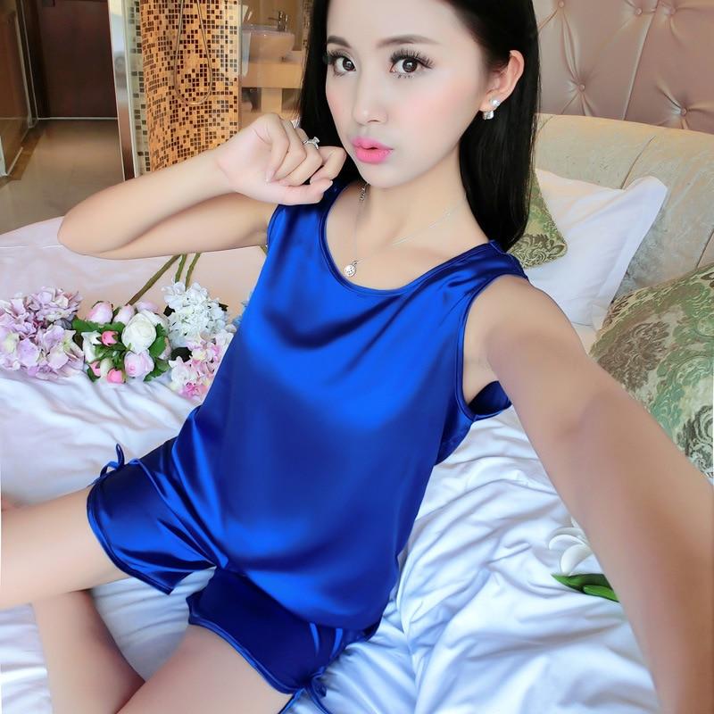 2016 Summer Pijama Feminino Solid Silk Pajamas Sexy Pyjama Femme Home Clothing Pajamas Set  Pyama Woman