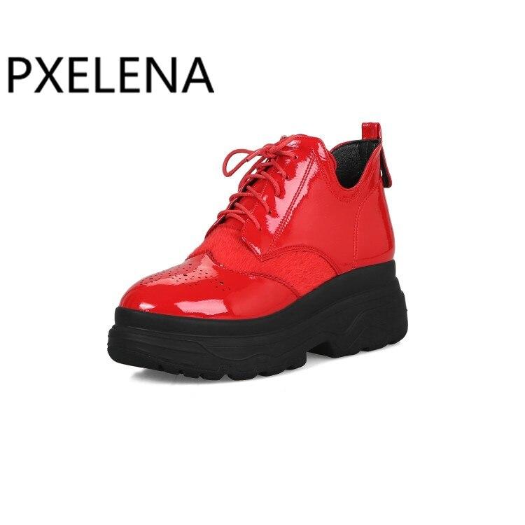 Pxelena Plataforma 2018 Alto 34 Martin Nuevo Botines Lace Zapatos Mujer Las Creepers Up 43 rojo De Botas Negro Señoras Gótico Rock Punk Otoño Grueso dXtXFqwrx