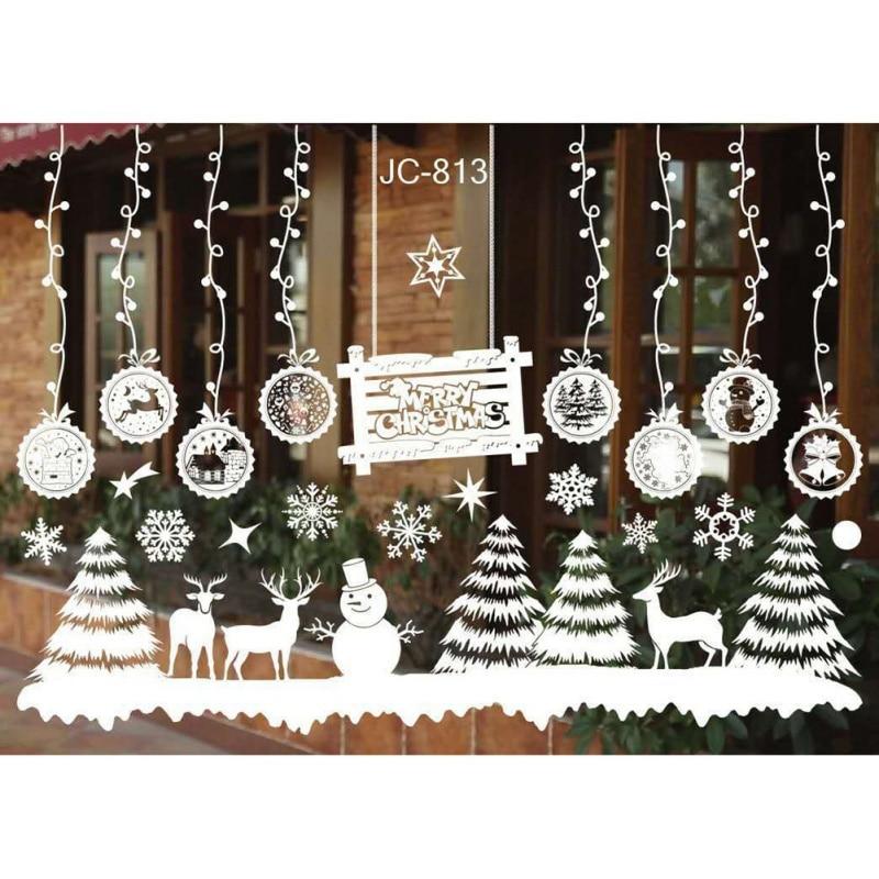 2018 Christmas Wall Stickers Christmas Tree Snowman Elk Antelope Santa Claus Shop Window Glass Background Stickers Decor 55*38cm