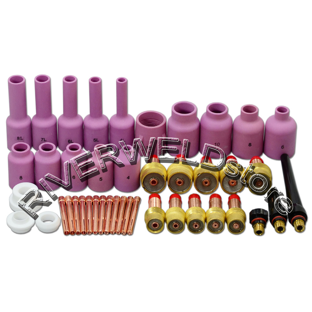 TIG Gas Lens KIT Back Cap Collet Body Fit TIG Welding Torch SR WP17 18 26 Consumables ,43PK chinese brand welding tig torch body tig consumables manager recommended fit sr wp17 18 26 67pk