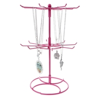 Fashion Metal Jewelry Necklace Earrings Rings Chain Rotation Hanging Jewelry Stand Hard Display Organizer Holder Show