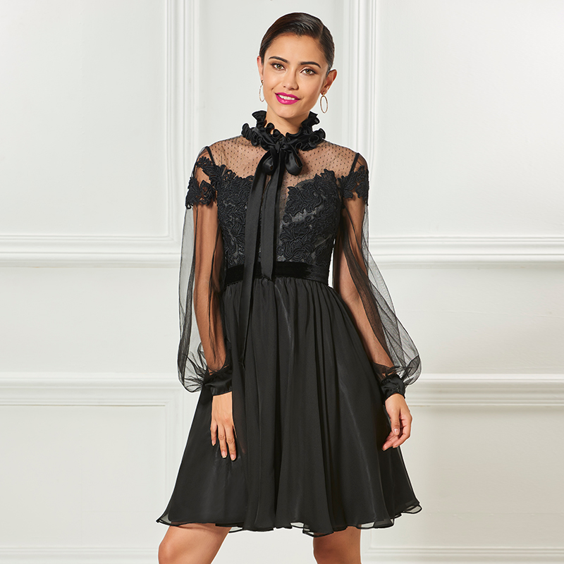 Tanpell black short cocktail dresses long sleeves above knee a line gown women appliques homecoming plus custom dress