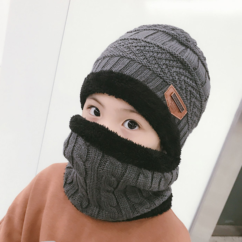 2018 New Thick Children Winter Hat And Scarf Set For Boys Girls Knitted Cap Kids Fleece Skullies Beanies Balaclava