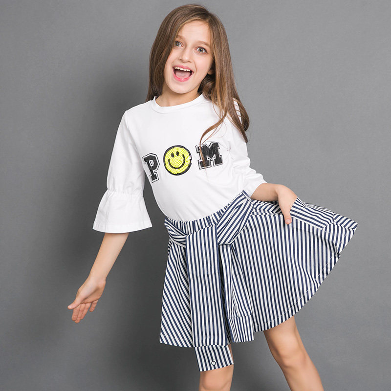 Cool Girls T Shirt Cute Smile Face Emoji Cute Tops Tees White Wild Kids Clothes for School Teens 56789 10 11 12 13 14 Years Old girl