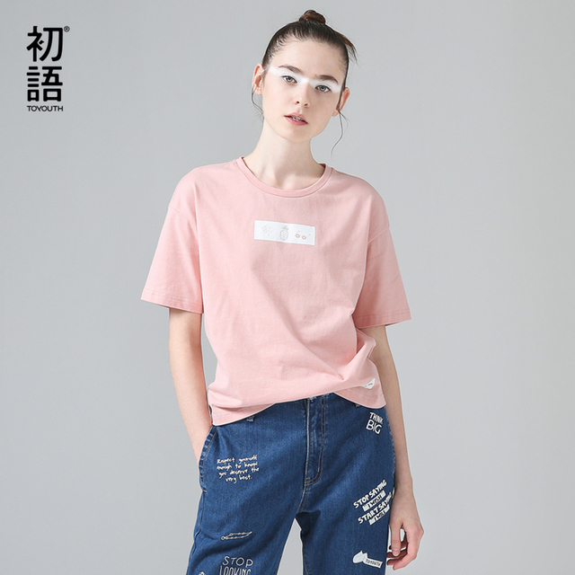 Toyouth Funny Pattern Short Sleeve T-Shirts Women Casual Back Letters Cotton Summer T Shirt All-Match Pink White Tee Shirt Cloth