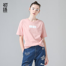Toyouth Funny Pattern Short Sleeve T-Shirts Women Casual Back Letters Cotton Summer T Shirt All-Match Pink White Tee Shirt Cloth(China)