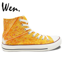 Wen Original Design Tangerine Fruit Orange Flesh Hand Painted High Top Canvas Shoes Orange Sneakers Boys Girls's Birthday Gifts