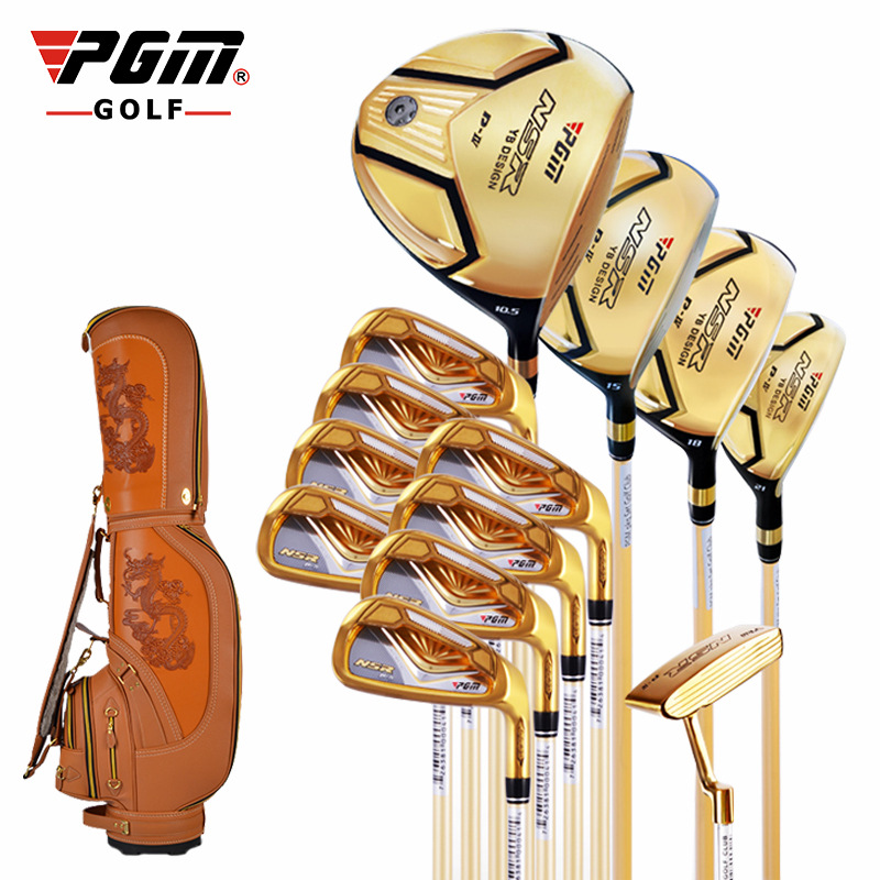 Manufacturers wholesale golf clubs set authentic golf PGM men's gold titanium rod set wooden ball set simulation mini golf course display toy set with golf club ball flag