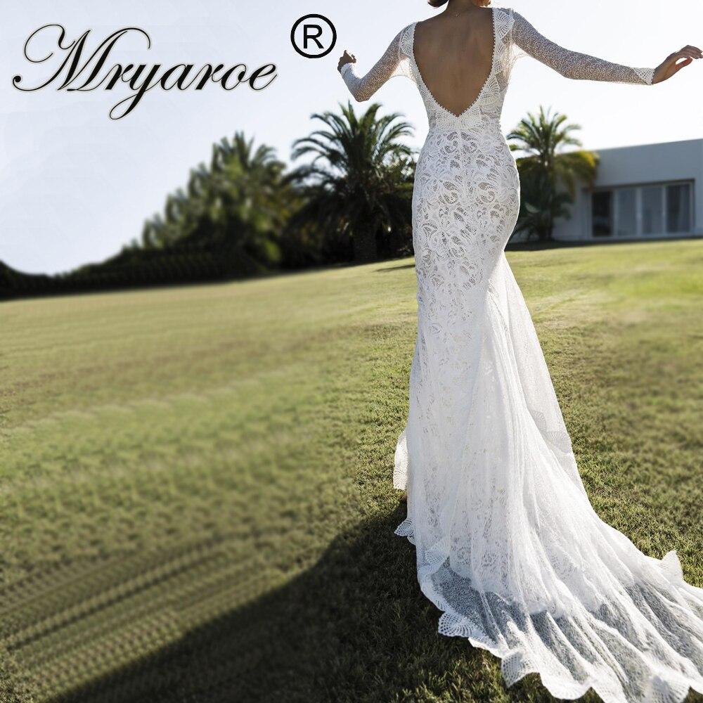 Mryarce 2019 Unique Bride V Neck Open Back Lace Long Sleeves Wedding Dress Front Slit Chic Style Bridal Gowns