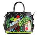 2017 Trend Borsa Handicraft Italy Brand Braccialini Style Large Totes Women Messenger Handbag PU Leather Shoulder Bag TottyBlu