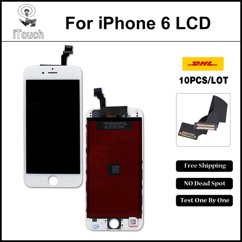 10 PCS/LOT None Spot A++++ for iPhone 6 LCD Full Assembly with Screen Replacement Lens Pantalla Black White Free DHL Shipping