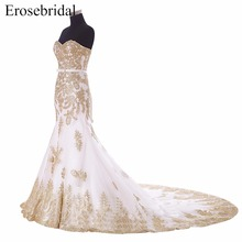 Mermaid Sleeveless Wedding Dress With Golden Appliques Sweetheart Lace Up Back Bridal Gown with Long Train vestido de noiva