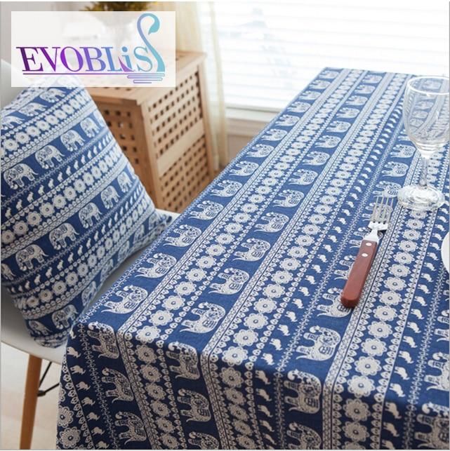 bohemia elefante azul de encaje mantel rectangular mesa de tela manteles para mesas cuadradas manteles de