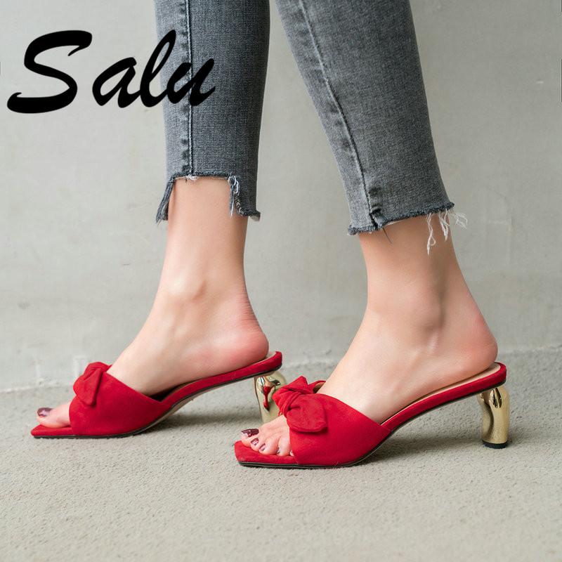 Salu Top Quality Genuine Leather Basic Women Sandals 2019 New Arrival Classic Design Open Toe Elegant