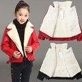2016 Fashion infant leather jackets/Autumn winter Boys Girls PU Leather Jackets Children 3-14T Clothing Kids Warm Coat Outerwear