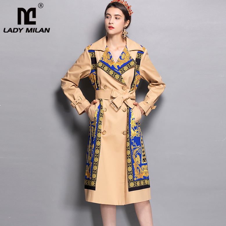 2019 Spring Women's Notched Collar Long Sleeves Printed Sash Belt Elegant Fashion Designer Runway Trench Coats Outwear