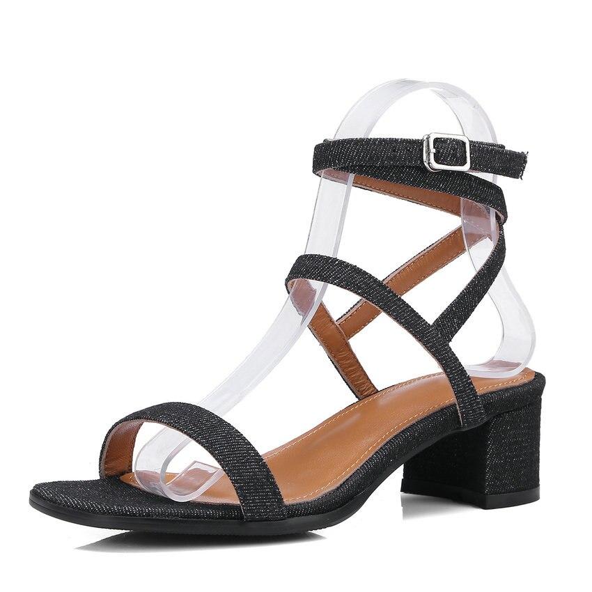 Chaussures Noir À Véritable Hauts 34 40 Sandales Talons De En 2018 Cuir Femme Nesimoo Mariage Taille bleu Femmes Slingback Dames Carré Mode MVqpSzU