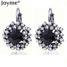 2016 Fashion Jewelry Silver Plated Maxi Black Crystal Brinco Statement Red Drop Earrings For Women Female Earring Brincos