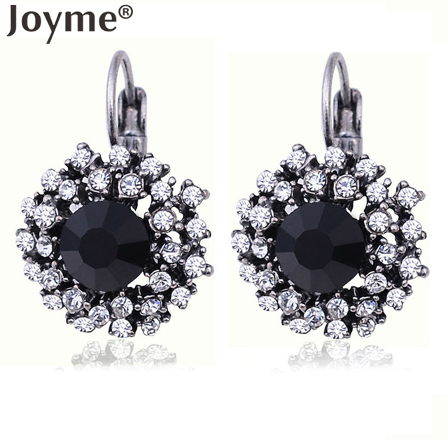Fashion Jewelry Silver Plated Maxi Black Crystal Brinco Statement Red Drop Earri