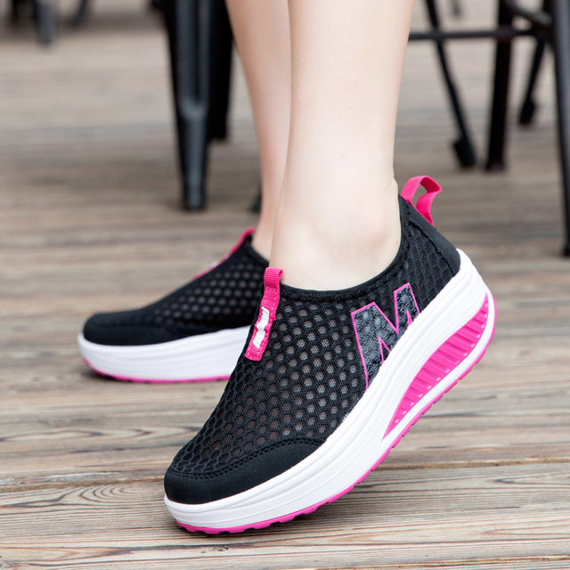 Women Casual Shoes Mesh Summer Breathable Sneakers Swing Shoes Lady Zapatos Mujer Flat Platform Light Leisure Women Flats Loafer