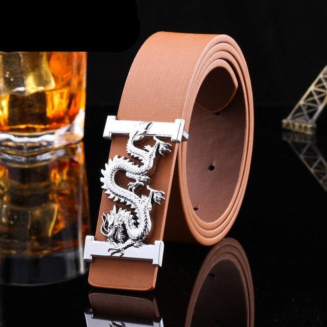 b1006ad02b5b Hommes ou femmes ceinture femelle glisser impériale boucle haut de gamme  dragon ceintures de haute qualité