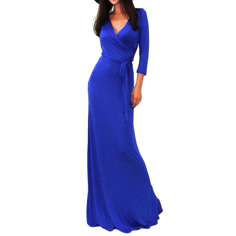 d8bbb4e83c0 Sexy Women Package Bodycon Vestidos Maxi Dress Fashion V neck Wrap Empire  Waist 3 4 Sleeve Solid Long Casual Dresses-in Dresses from Women s Clothing  on ...