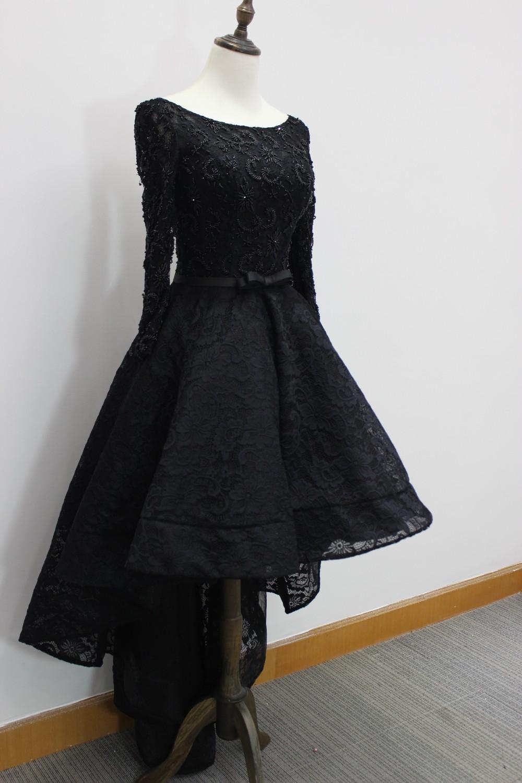 black long sleeves high low prom dresses