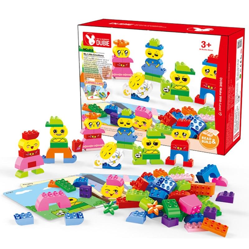 DOLLRYGA grandes briques pièces bricolage blocs de construction en vrac blocs compatibles Duplo Expression petit homme jouets cadeau d'anniversaire couleur mélangée