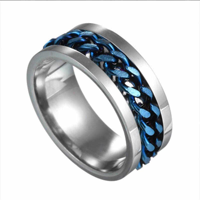 Индивидуальная бижутерия в стиле панк-рок для мужчин, кольцо-Спиннер из титана, нержавеющая сталь, золото, черная цепочка, Ротационные кольца для женщин, подарок