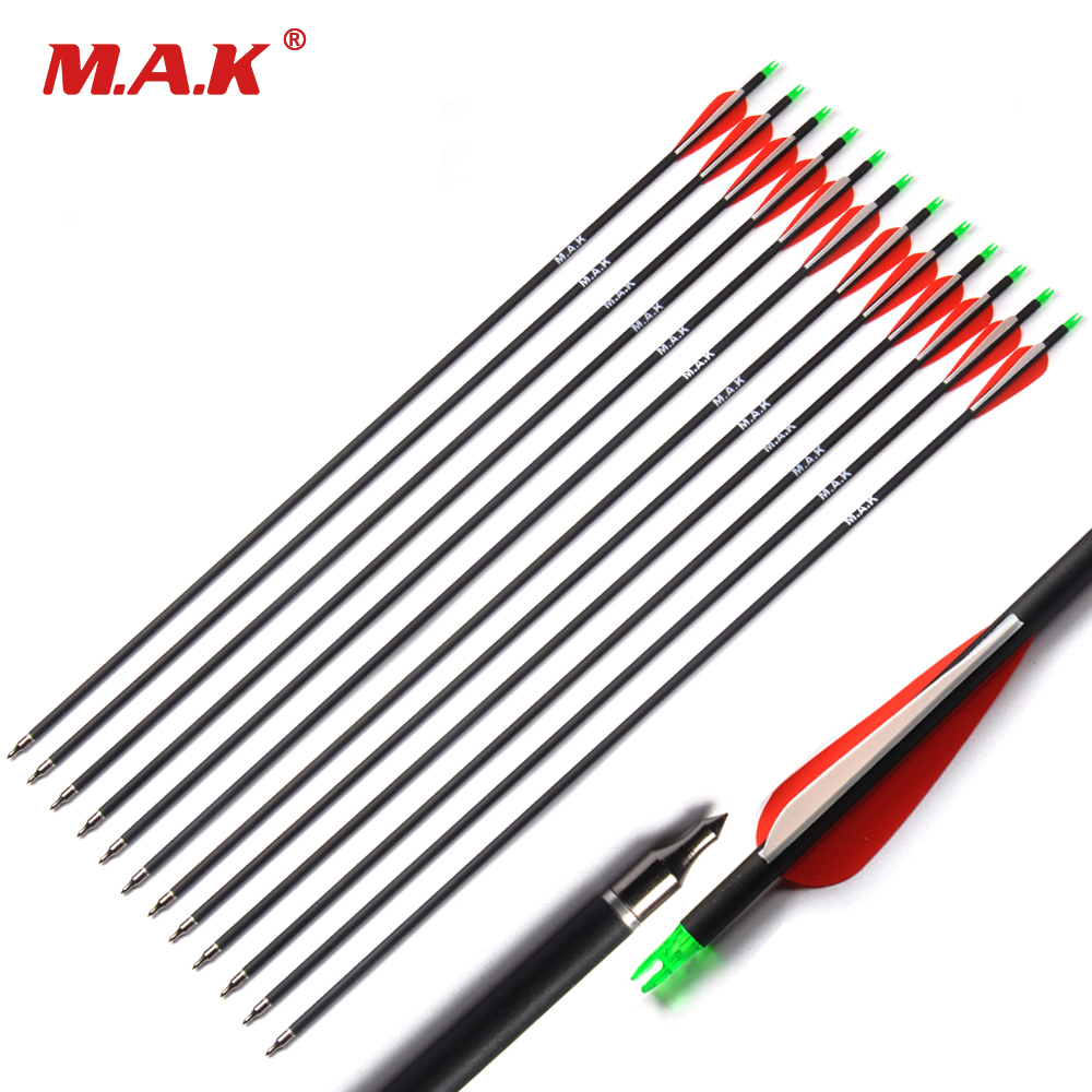 200/500pcs Wholesale Arrow 7.8mm 30inches Spine 500 Carbon Arrow with Red Feather for Compound/Recurve Bow Hunting Archery red arrow arrow yh 170 220v arrow spray gun kf350