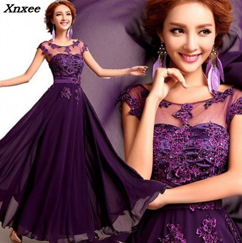 2018 Elegant Lace Chiffon Long Dress O-neck Appliques Wedding Party Dress Purple/Red/Prom Evening Gowns Maxi Dress Vestidos