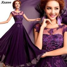 2018 Elegant Lace Chiffon Long Dress O-neck Appliques Wedding Party Dress Purple/Red/Prom Evening Gowns Maxi Dress Vestidos tight lace fitted maxi prom evening dress