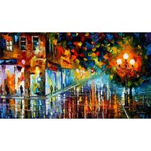 Large size wall knife oil painting on canvas washed boulevard art landscape modern decor home picture