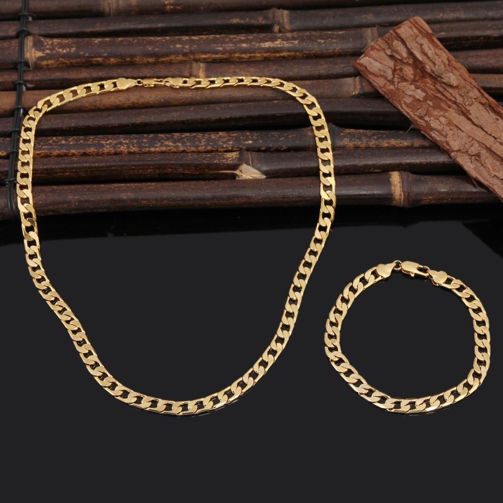 Bangrui 50 cm & 7mm Schmuck 2017 Neue Goldene Kette Halskette Armband Großhandel Halskette Armband Set