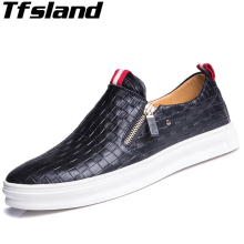 Tfsland New Men Leather Flats Loafers Male Breathable Slip on Dress Shoes Soft White Lazy Walking Shoes Zapatos Hombre Sneakers