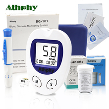 купить Athphy Blood Glucose Meter Diabetic Test glucometer measuring Medical Blood Sugar Monitor with 50/100pcs Strips Lancets Needle по цене 1021.62 рублей